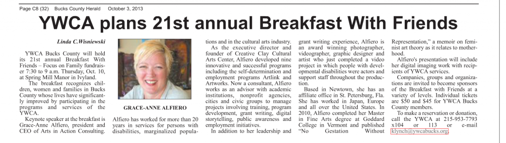 Recent article published in the Bucks County Herald on October 3, 2013 highlighting Grace-Anne Alfiero's keynote address to the YWCA Bucks County Breakfast with Friends Event