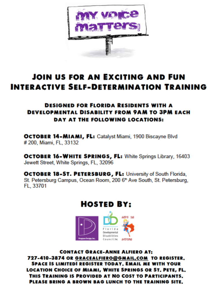 Developmental Disabilities Training in Florida on Self-Determination