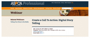 Arts In Action's Grace-Anne Alfiero will provide a 1.5 hour Digital Storytelling webinar for ASPCA members on January 23, 2014.