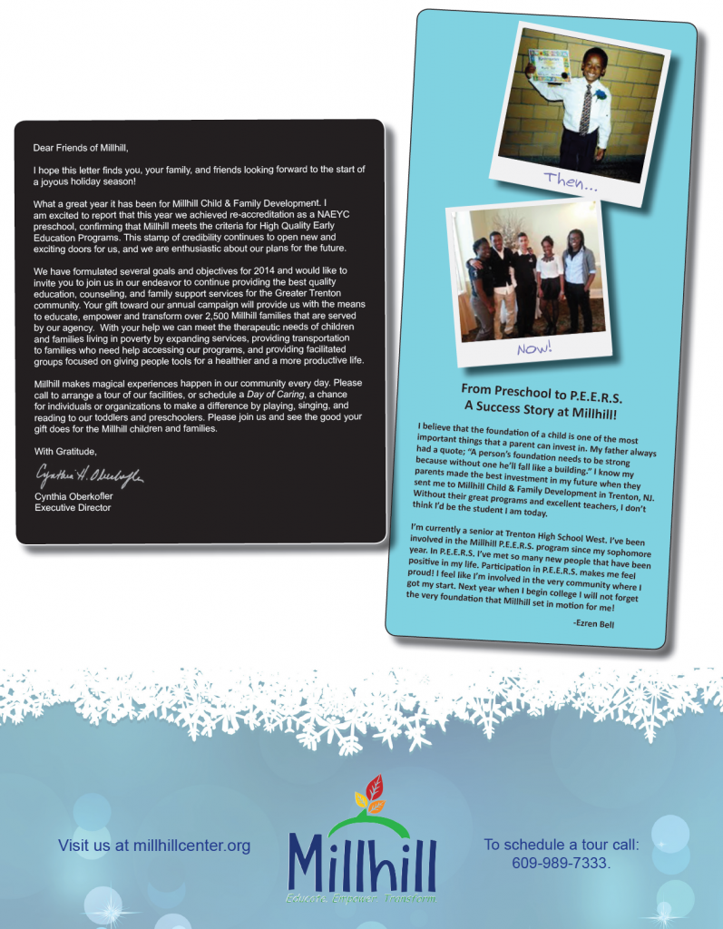 This is the back page of Millhill's Appeal, we decided to include a success story from one of the teenagers who has been receiving services at Millhill since he was a toddler!