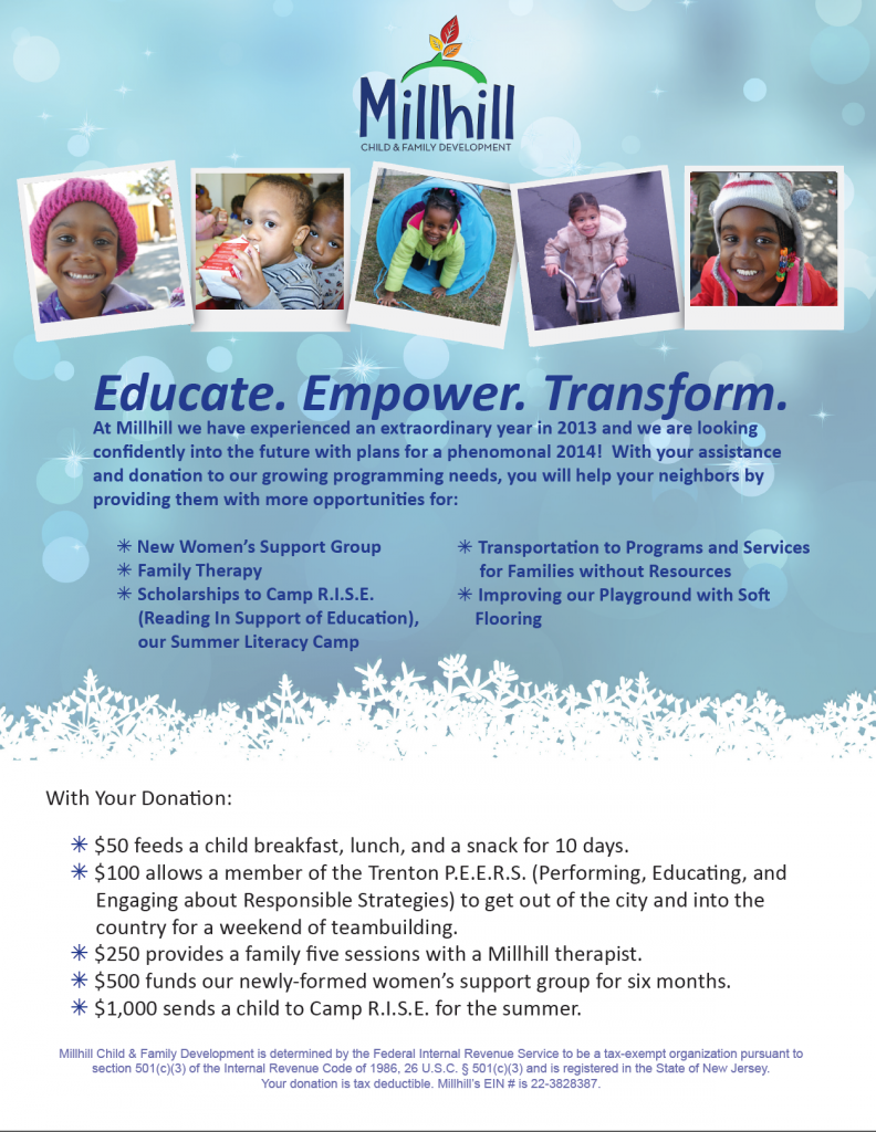 This is the front of the Millhill Holiday Appeal. Millhill is an agency located in Trenton, NJ working with children and families who are of low income.