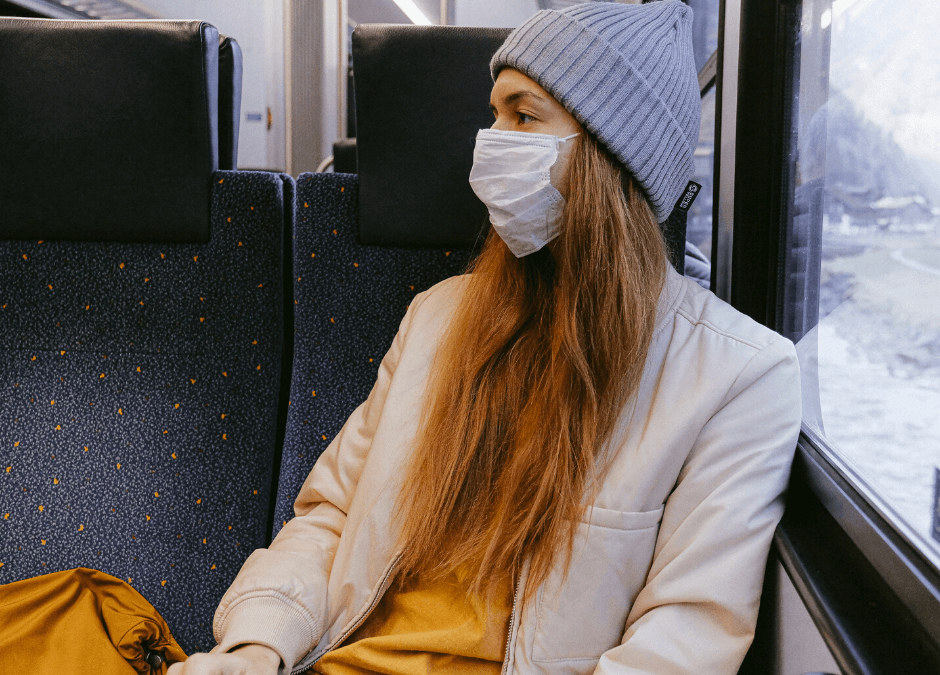 Child with Mask on Train